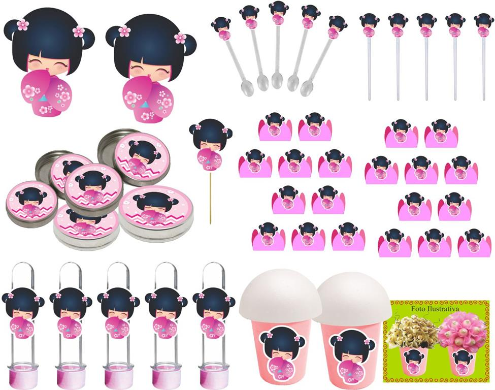 Kit Boneca Japonesa Kokeshi Rosa 99 Peças (10 pessoas)