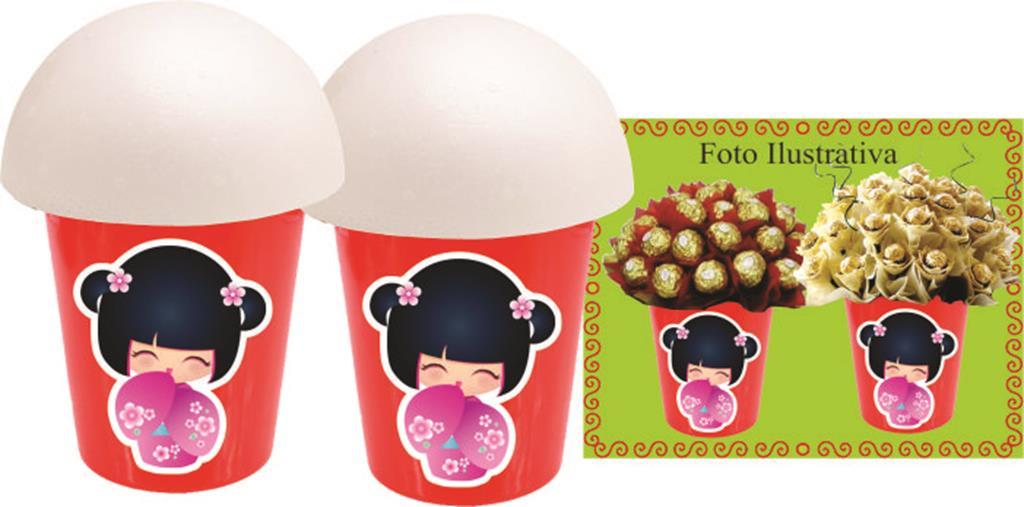 Kit Boneca Japonesa Kokeshi vermelha 106 Peças (10 pessoas)