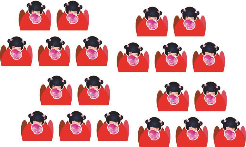 Kit Boneca Kokeshi vermelha 99 peças (10 pessoas)