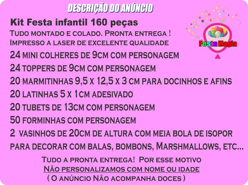 Kit festa Masha E O Urso (pink e amarelo) 160 Peças (20 pessoas)