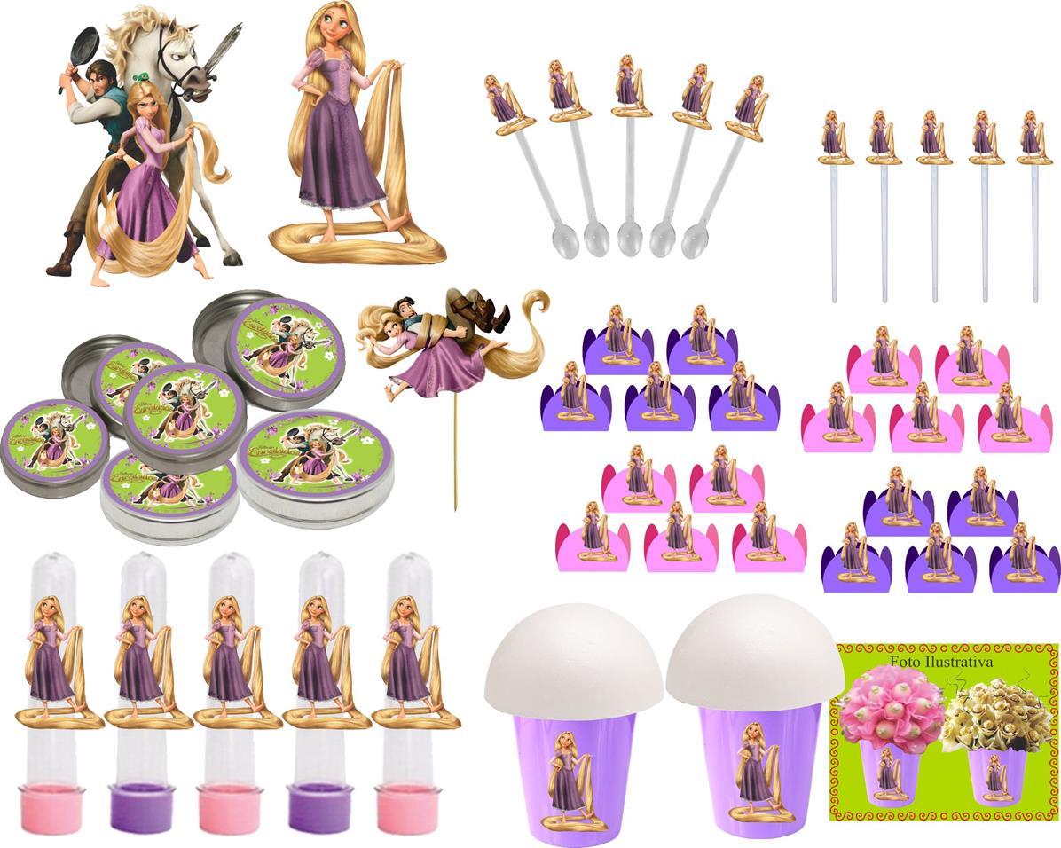 Kit Decorativo Enrolados (Rapunzel) 143 Peças (20 pessoas)