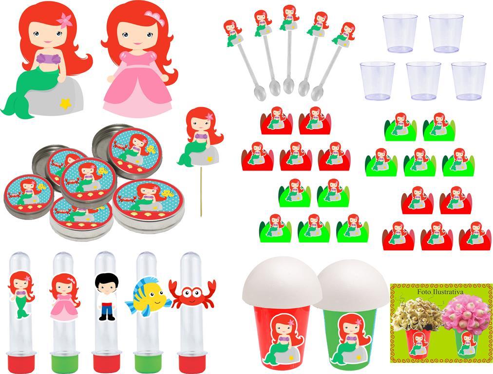 Kit festa A Pequena Sereia Baby (Cute) 95 peças (10 pessoas)