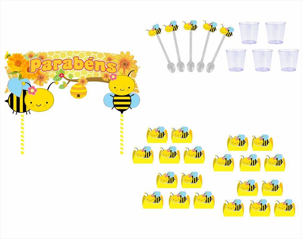 Kit festa Abelhinha menina 105 peças (10 pessoas)
