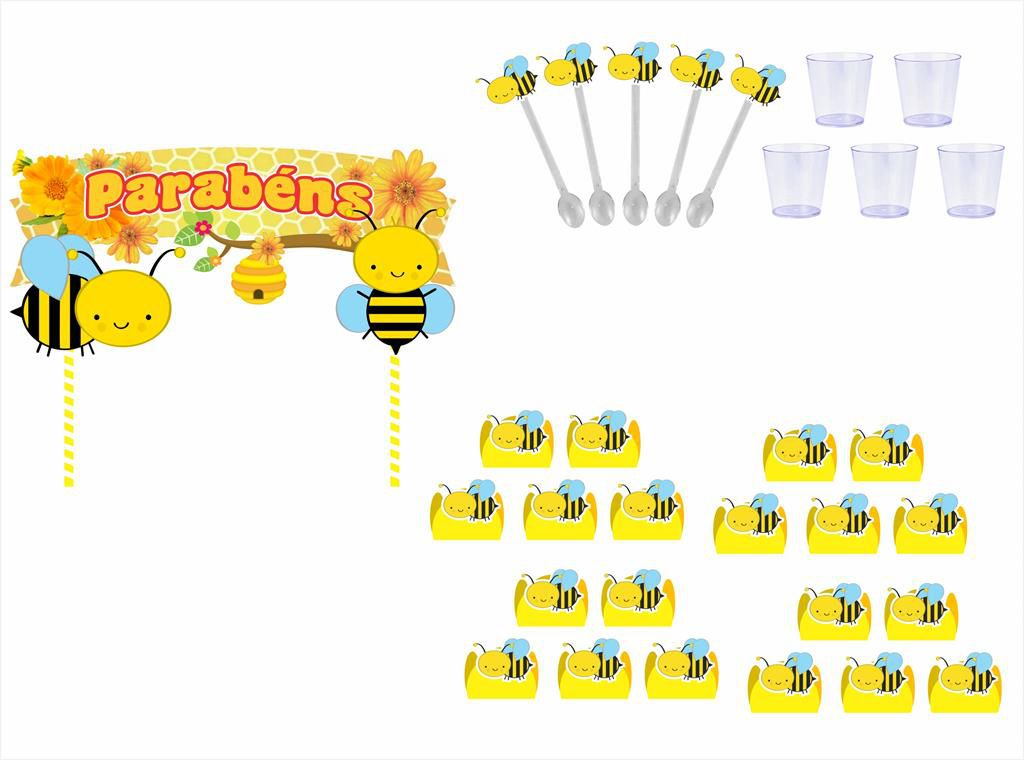 Kit festa Abelhinha menino 173 peças (20 pessoas)
