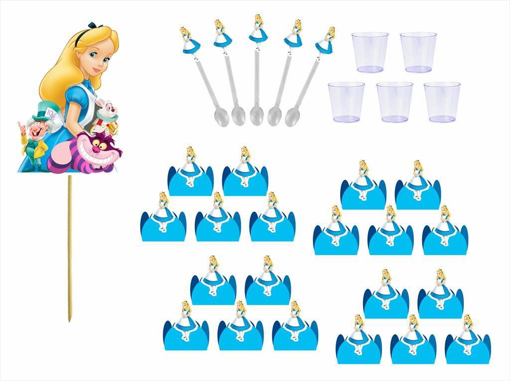 Kit festa Alice no País das Maravilhas 121 peças (10 pessoas)