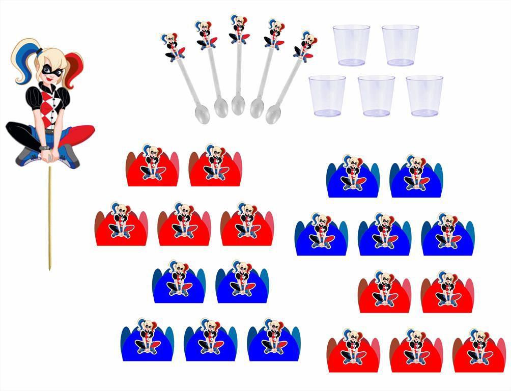 Kit festa Arlequina 121 peças (10 pessoas)
