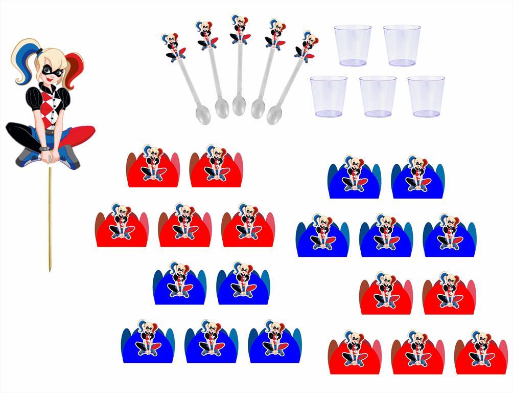 Kit festa Arlequina 363 peças (20 pessoas)