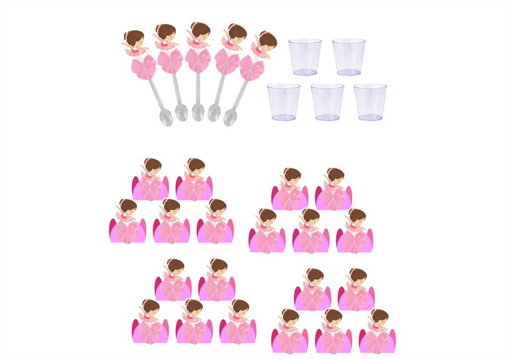Kit festa decorado Bailarina   121 peças (10 pessoas)