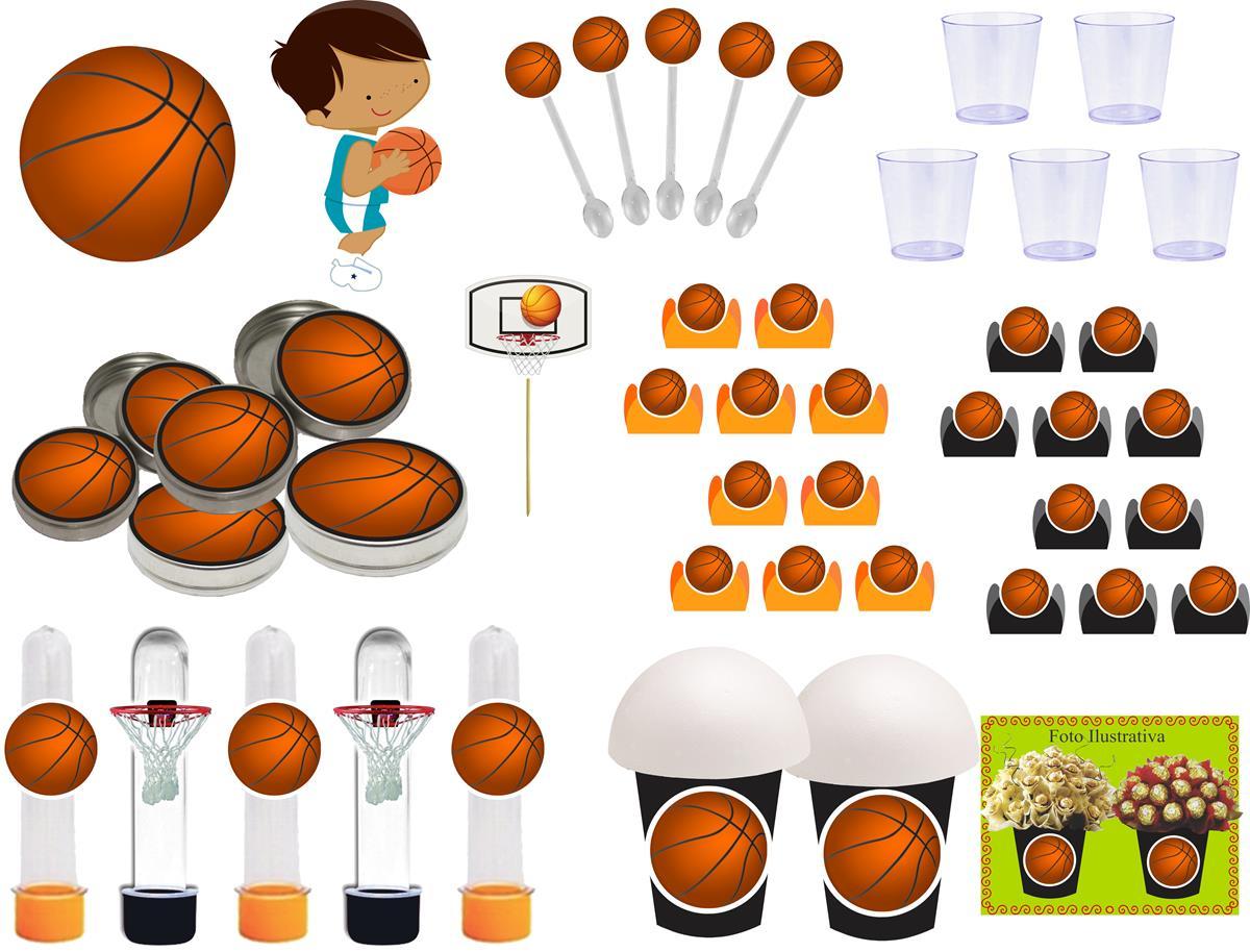 Kit festa Basquete Ball 155 peças (20 pessoas)