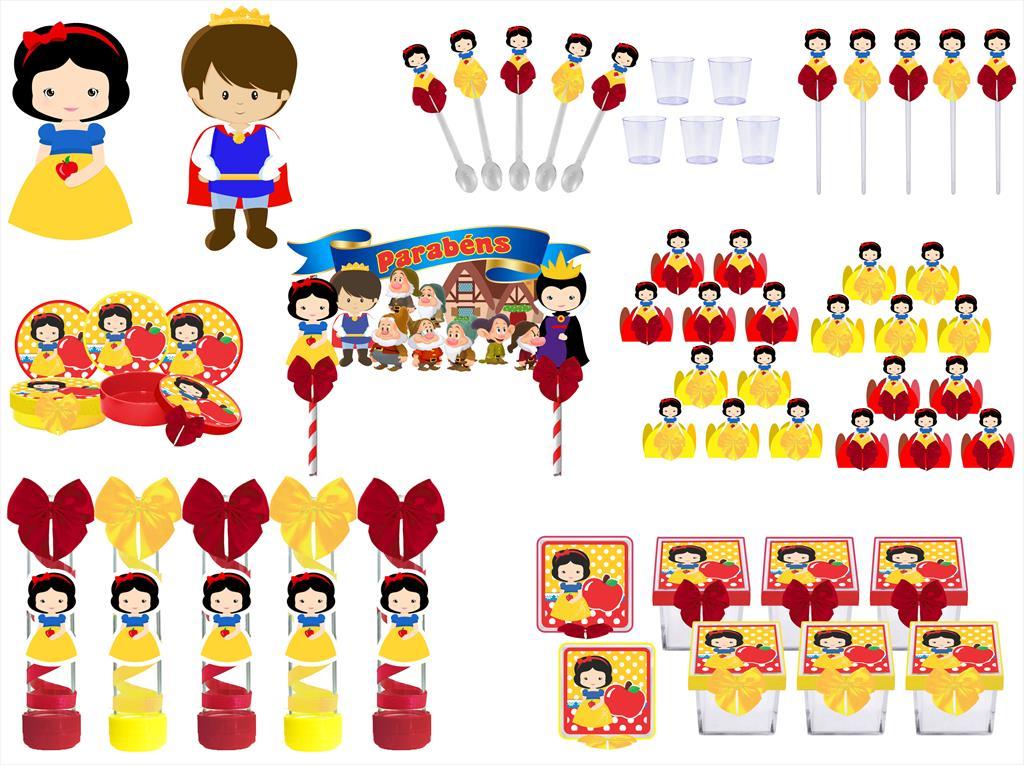 Kit festa decorado Branca de Neve Baby (cute)  113 peças (10 pessoas)