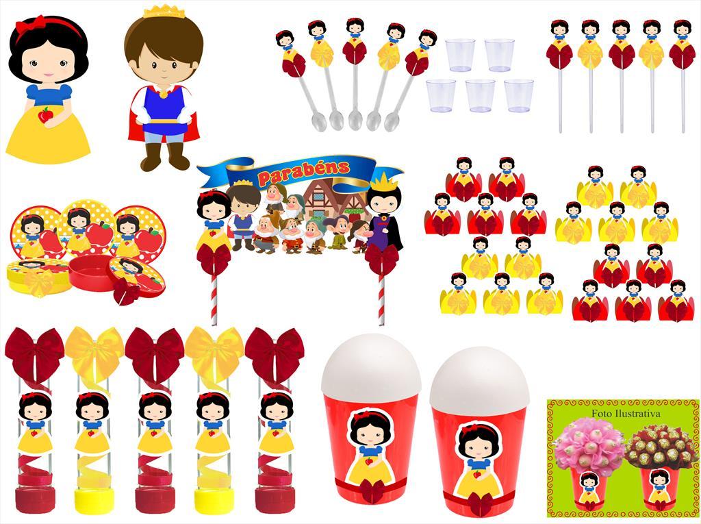 Kit festa decorado Branca de Neve Baby (cute) 155 peças  20 pessoas