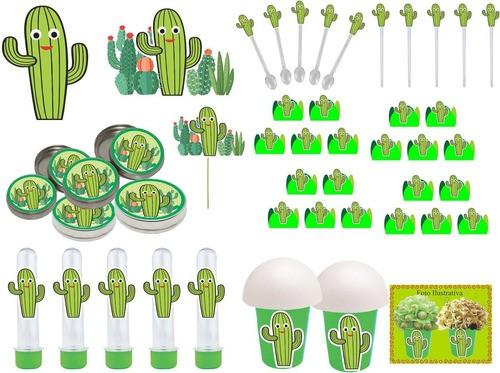 Kit festa Cactos Menino 99 peças (10 pessoas)