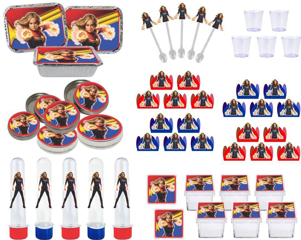 Kit festa Capitã Marvel 110 peças (10 pessoas)