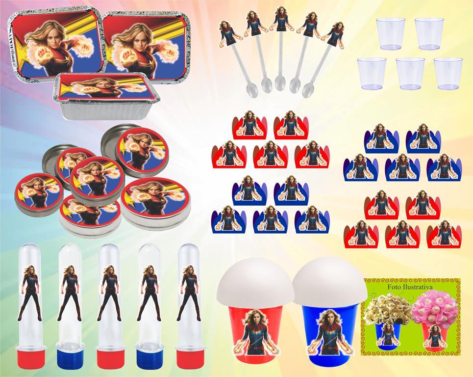 Kit festa Capitã Marvel 152 peças (20 pessoas)