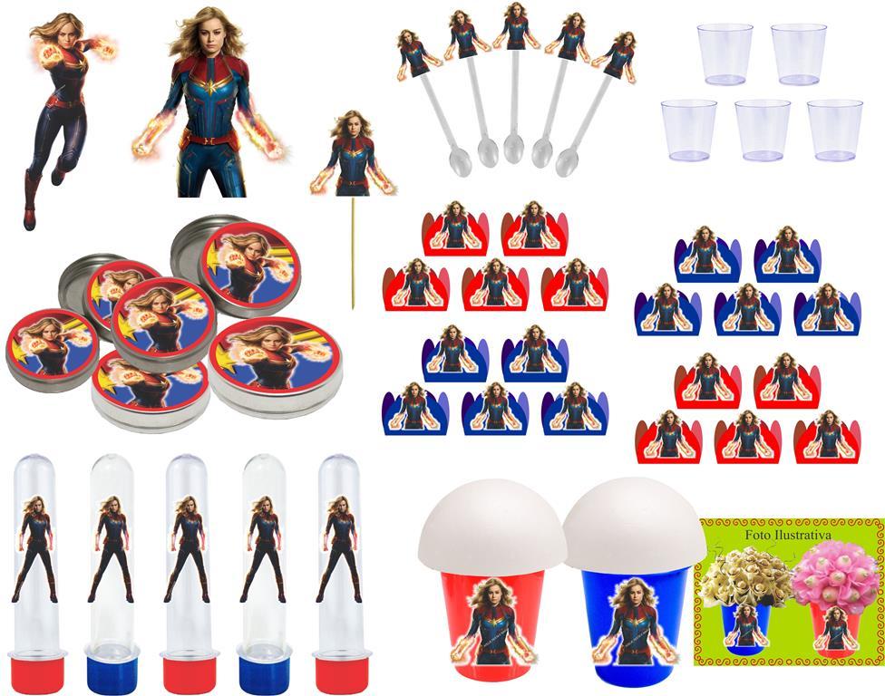 Kit Festa Capitã Marvel 95 Peças (10 Pessoas)