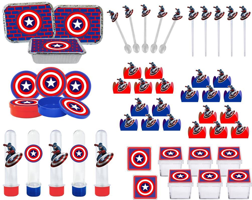 Kit Festa Capitão América 114 Peças (10 pessoas)