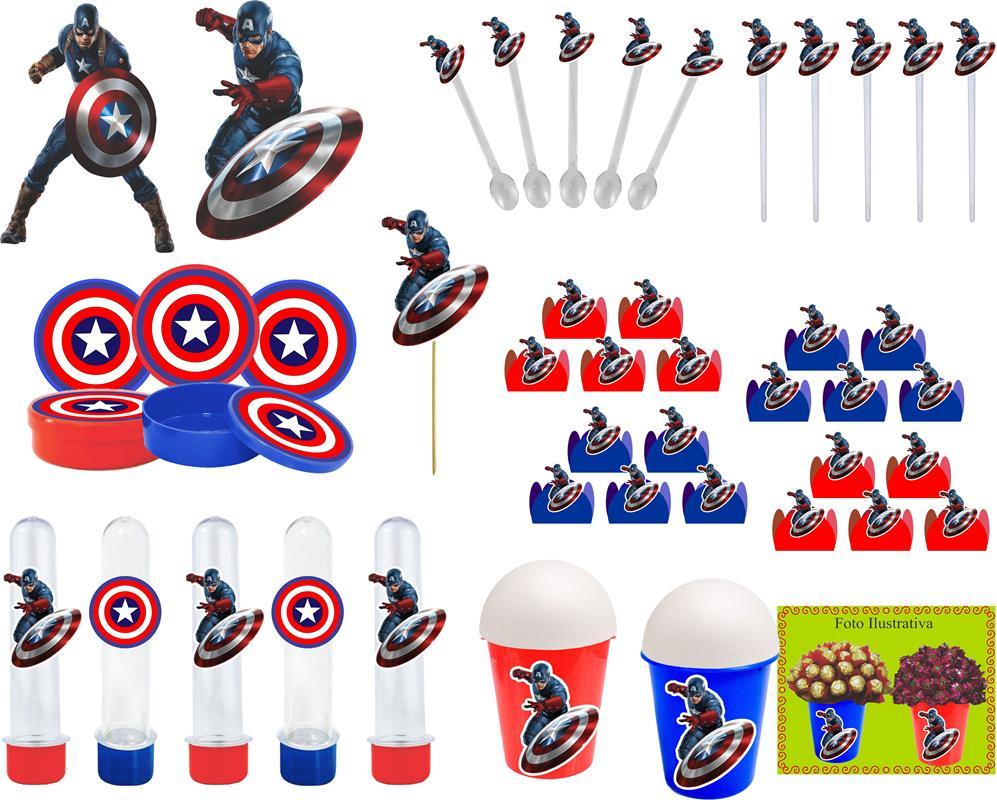 Kit festa Capitão América 143 Peças (20 pessoas)