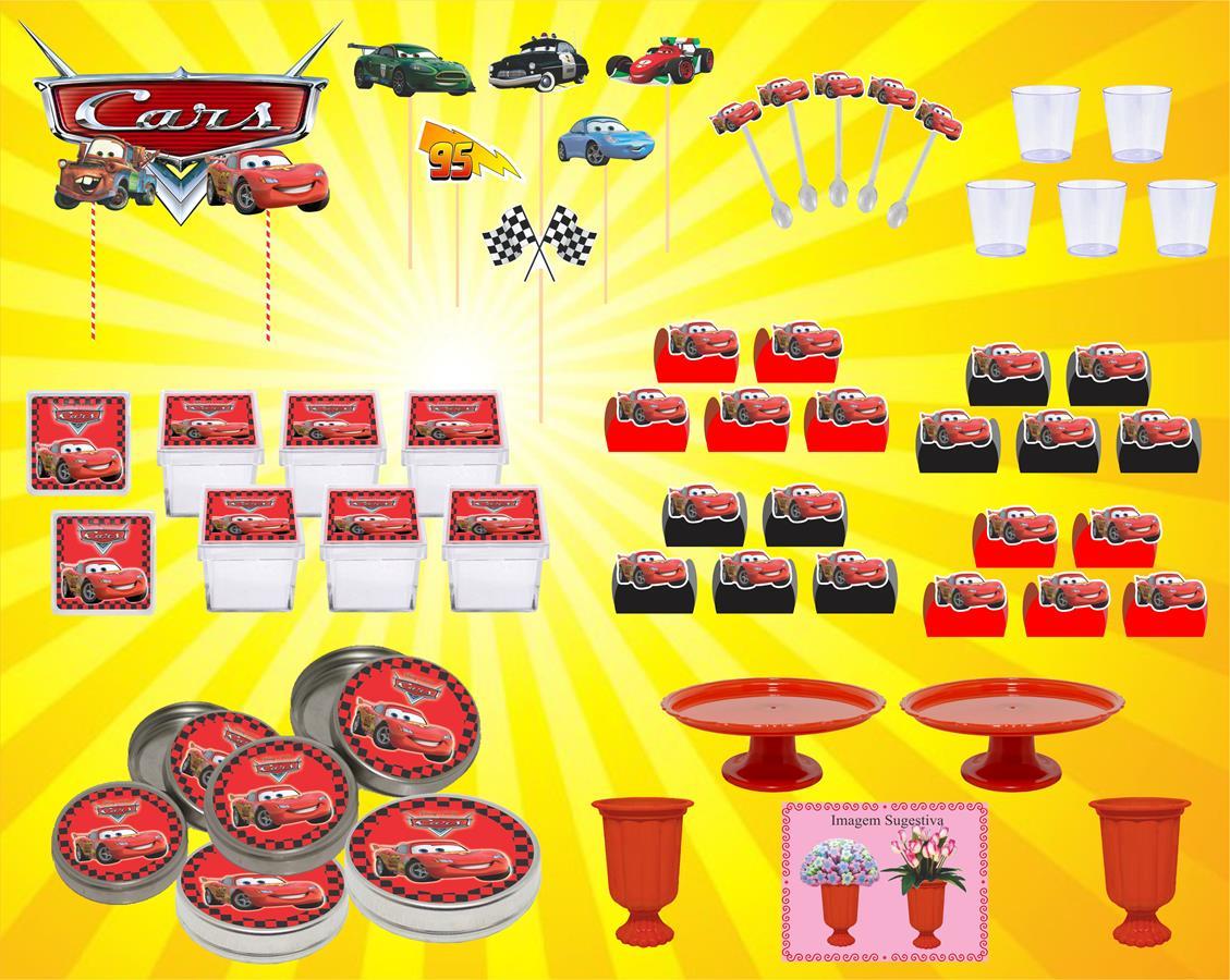 Kit festa Carros 141 peças (cx,lt)