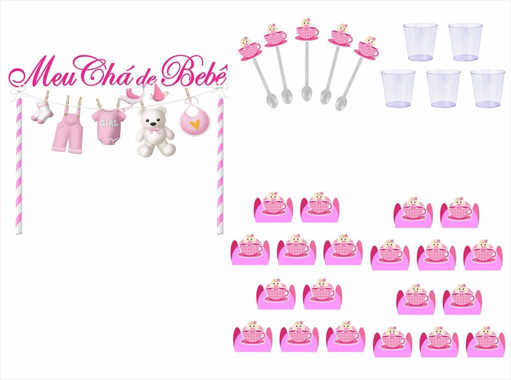 Kit festa Chá de Bebê Menina 191 peças (20 pessoas)