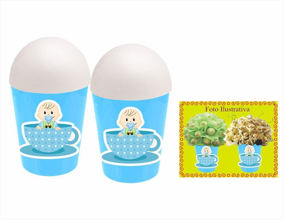 Kit festa Chá de bebê menino 105 peça (10 pessoas)