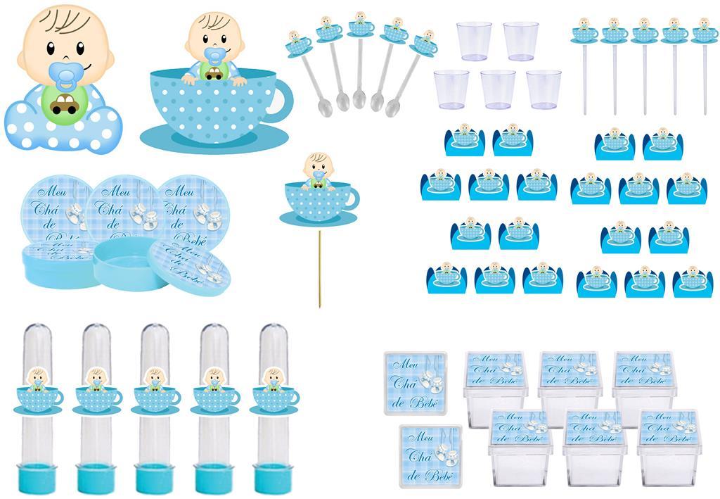 Kit festa Chá de Bebê menino 113 peças (10 pessoas)