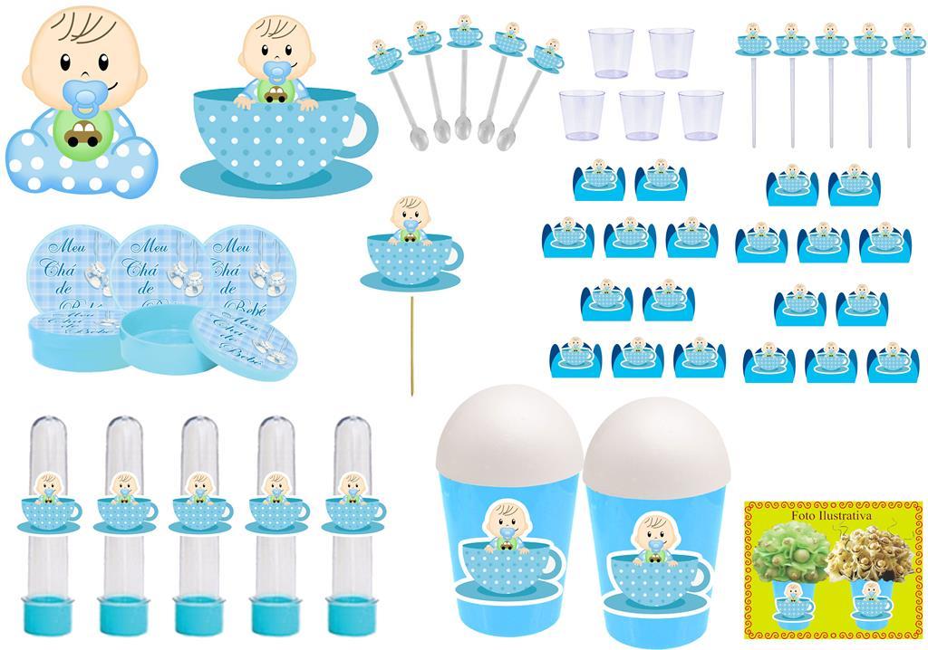 Kit festa Chá de Bebê Menino 155 peças (20 pessoas)