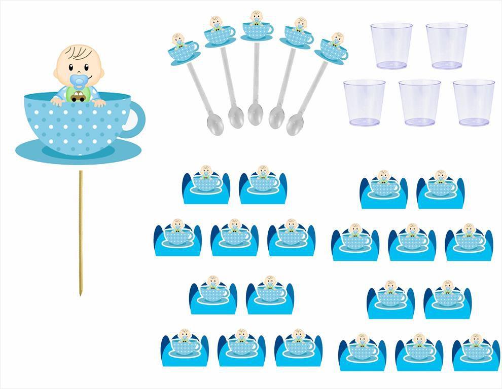 Kit festa Chá de Bebê Menino 173 peças (20 pessoas)