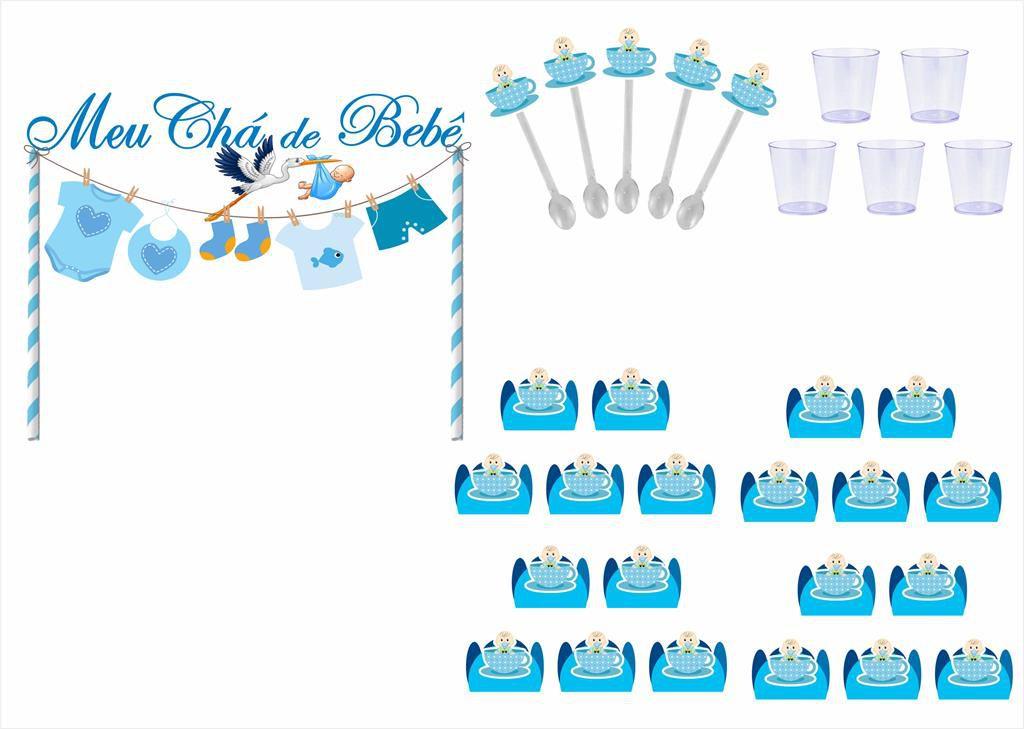 Kit festa Chá de Bebê Menino 363 peças (20 pessoas)