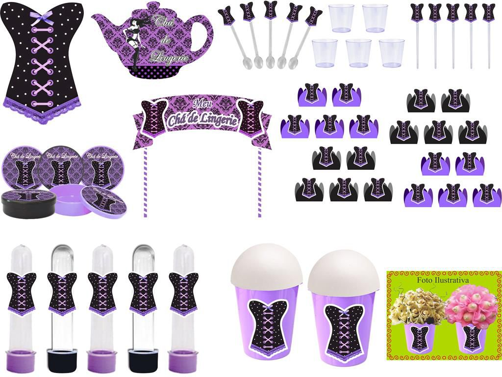 kit festa Chá de Lingerie (lilás e Preto) 105 peças (10 pessoas)