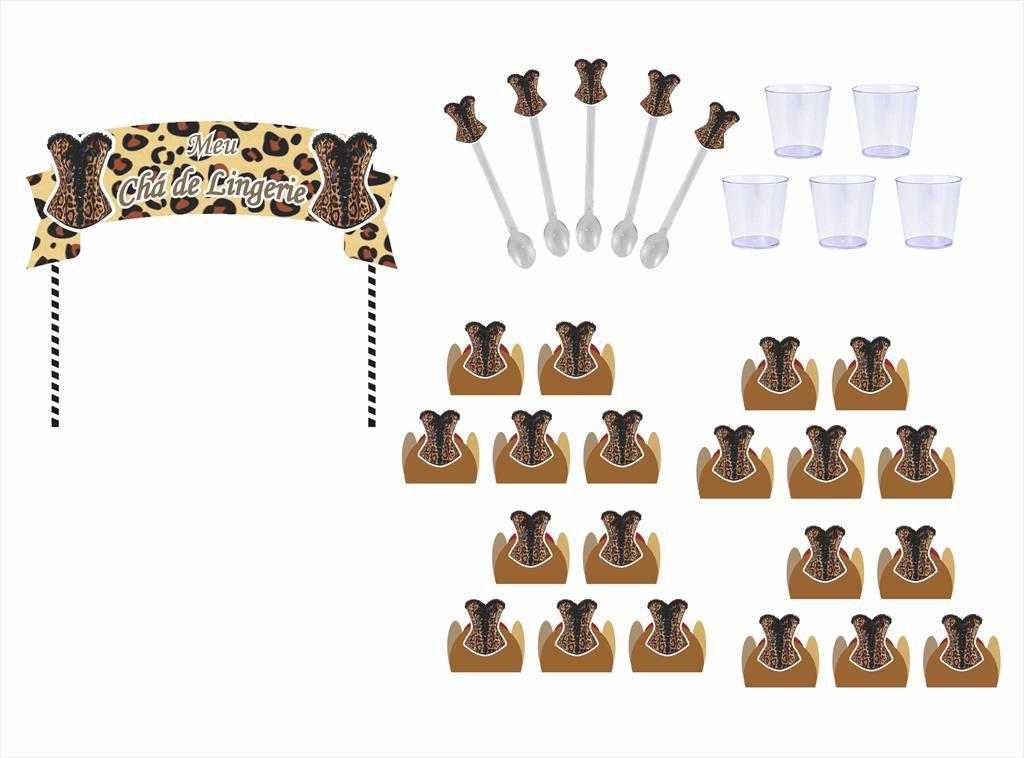 kit festa Chá de Lingerie Oncinha 105 peças (10 pessoas)