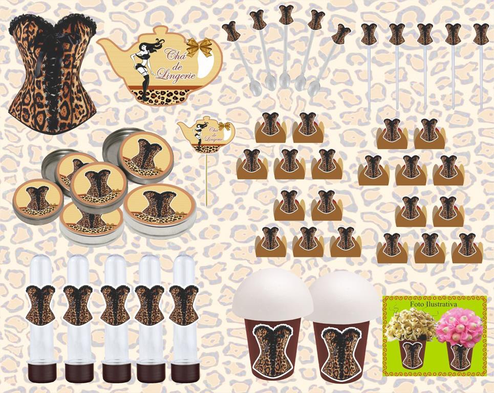 kit festa Chá de Lingerie Oncinha 143 peças (20 pessoas)