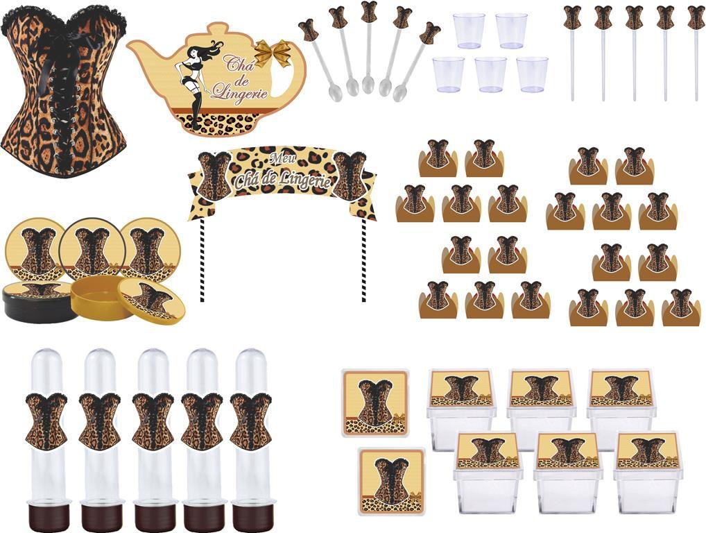 kit festa Chá de Lingerie Oncinha 173 peças (20 pessoas)