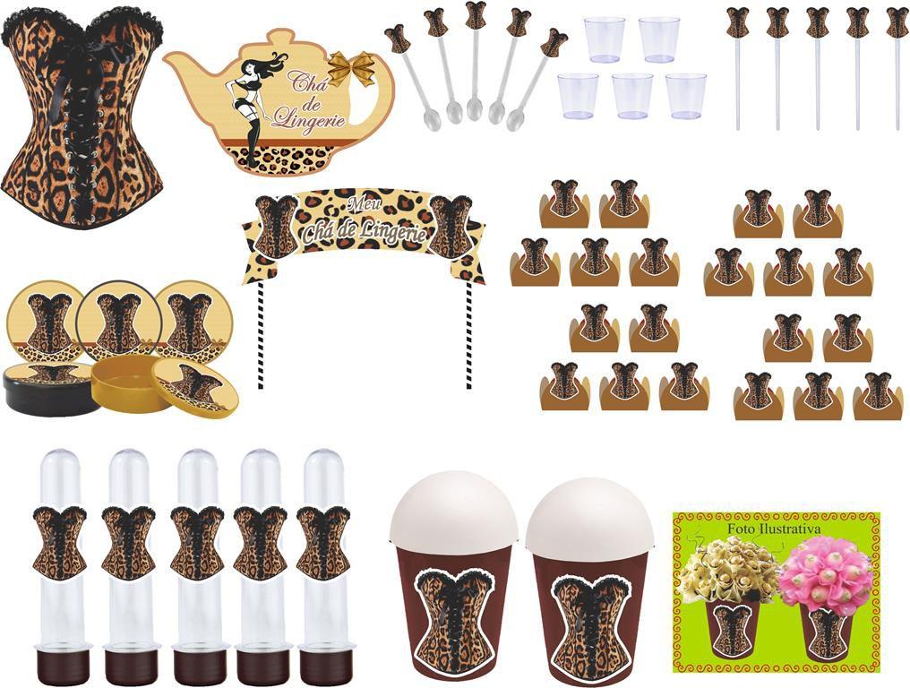Kit festa Chá de LIngerie Oncinha 95 peças (10 pessoas)
