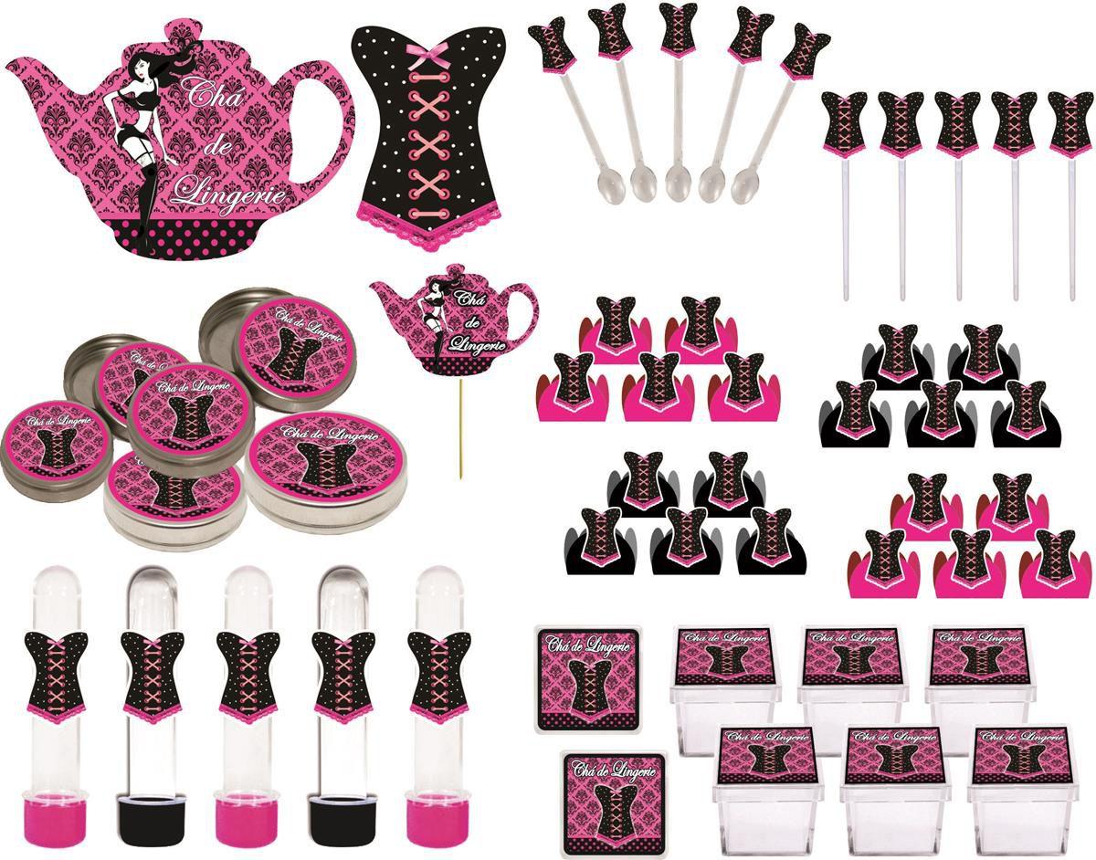 kit festa Chá de Lingerie (pink e Preto) 107 peças (10 pessoas)