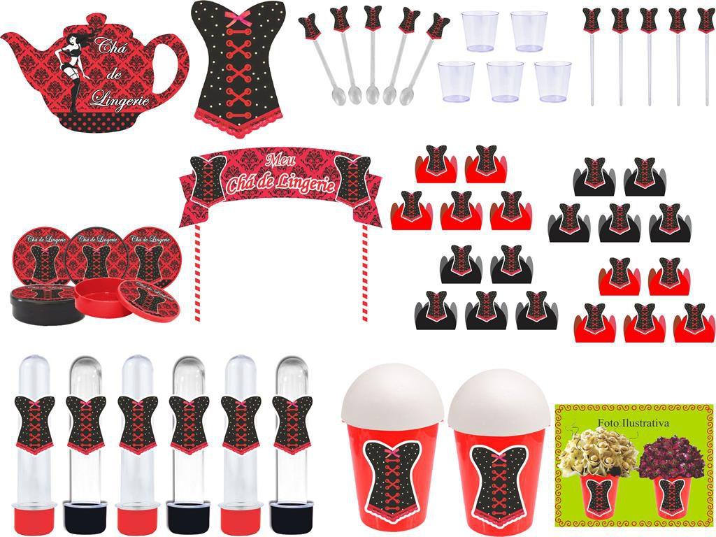kit festa Chá de Lingerie (vermelho e Preto) 105 peças (10 pessoas)