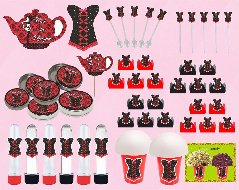 kit festa Chá de Lingerie (vermelho e Preto) 143 peças (20 pessoas)