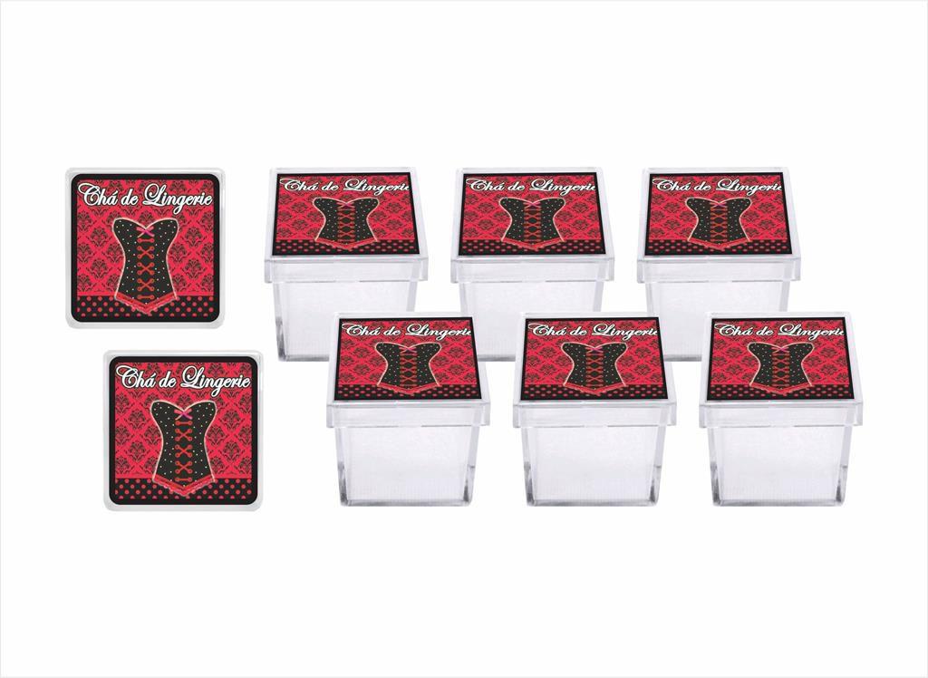 kit festa Chá de Lingerie (vermelho e Preto) 173 peças (20 pessoas)