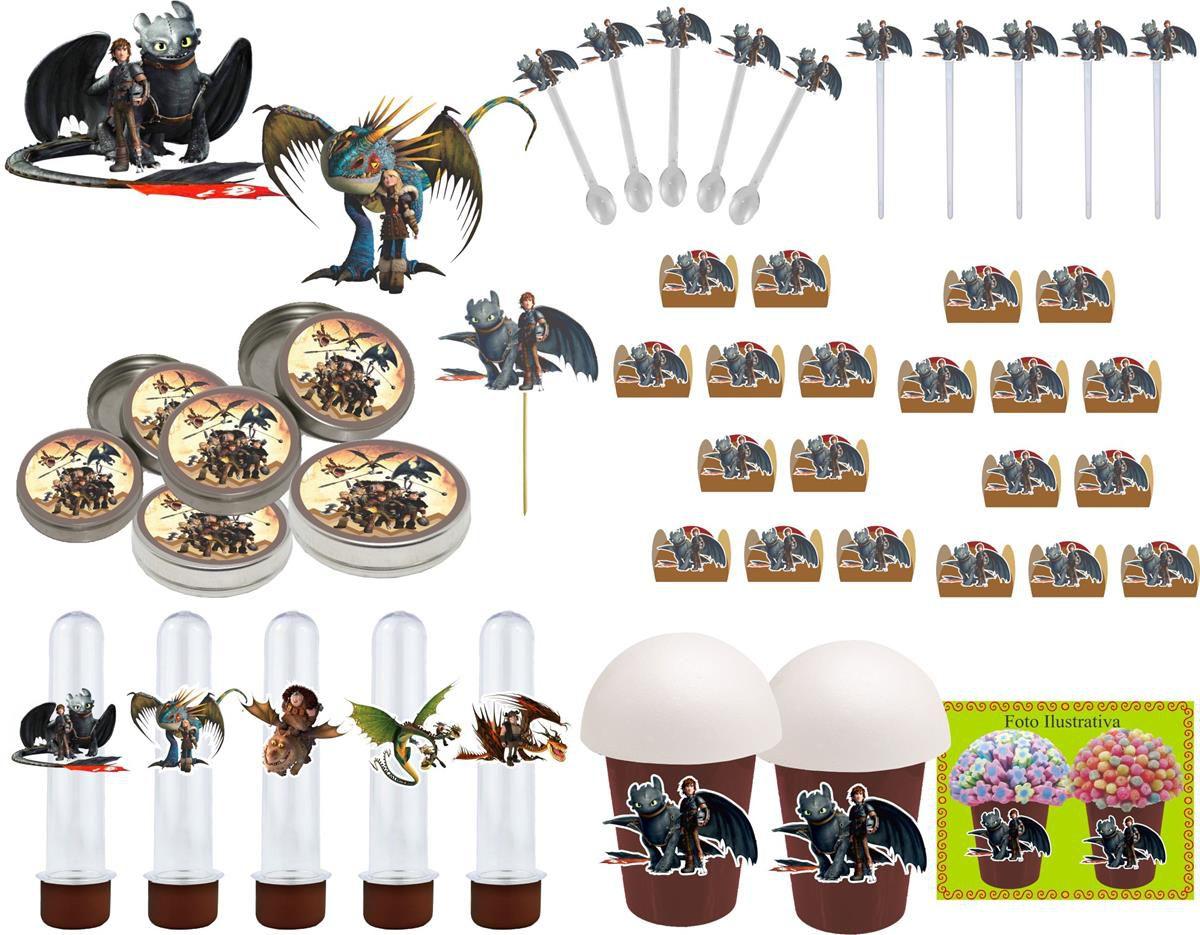Kit Festa Como Treinar Seu Dragão 265 Peças (30 pessoas)