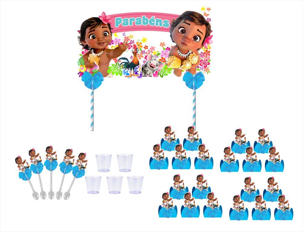Kit festa decorado Moana Baby (azul) 113 peças (10 pessoas)