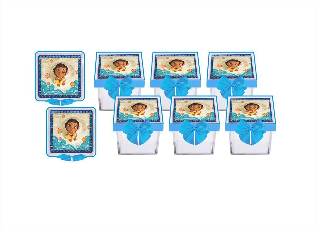 Kit festa decorado Moana Baby decorado (azul claro) 173 peças (20 pessoas)