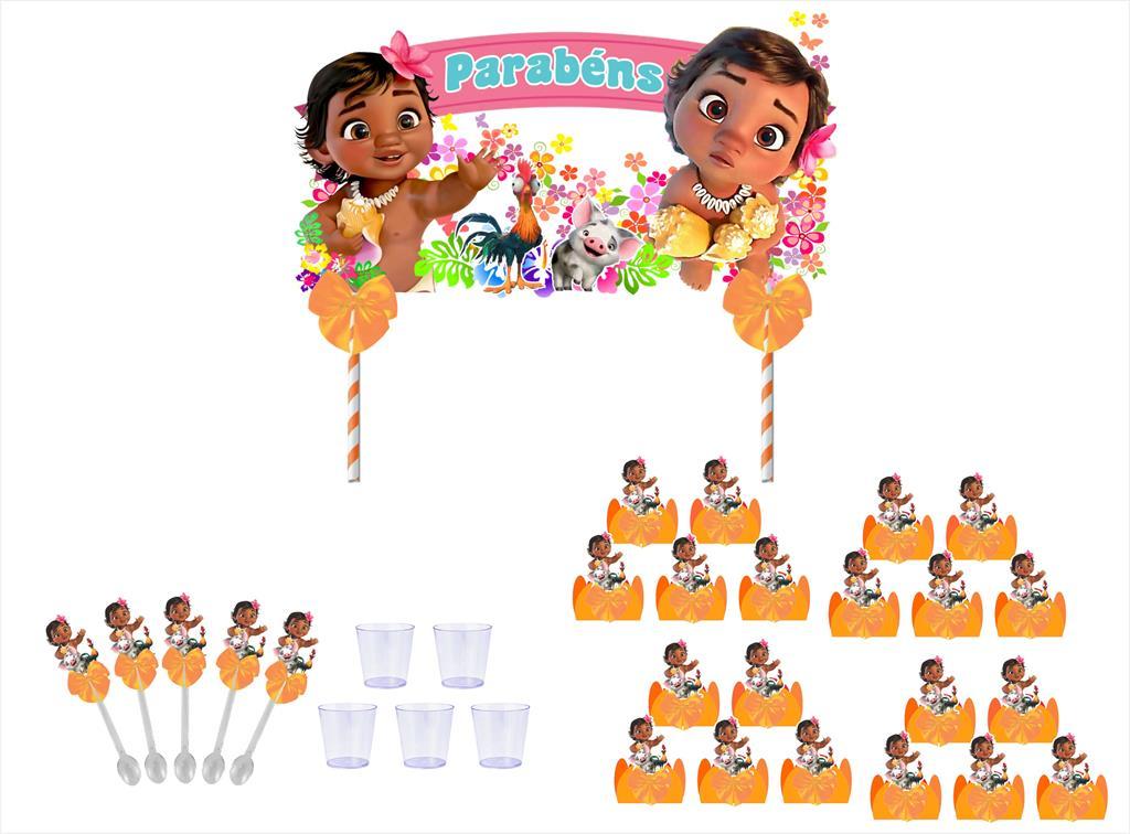 Kit festa decorado  Moana Baby  (laranja) 105 peças (10 pessoas)