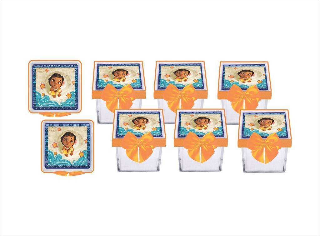 Kit festa decorado Moana Baby  (laranja) 113 peças (10 pessoas)