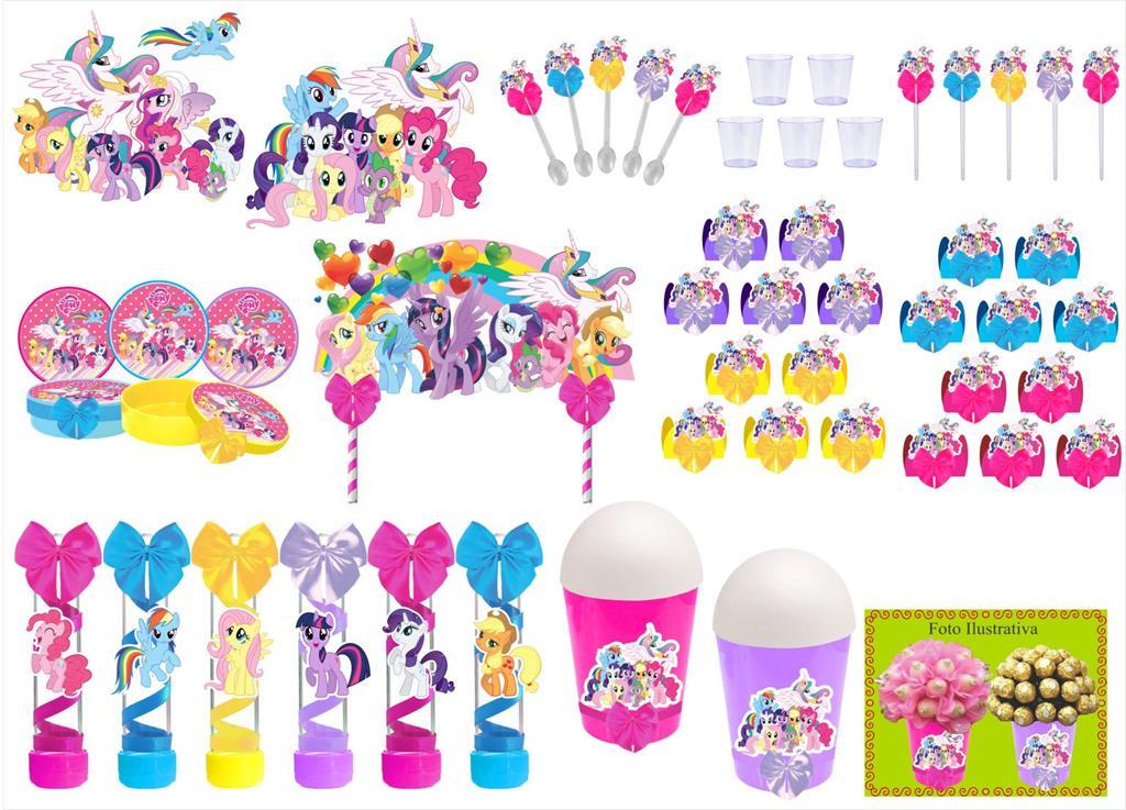Kit festa decorado My Little Pony  105 peças (10 pessoas)