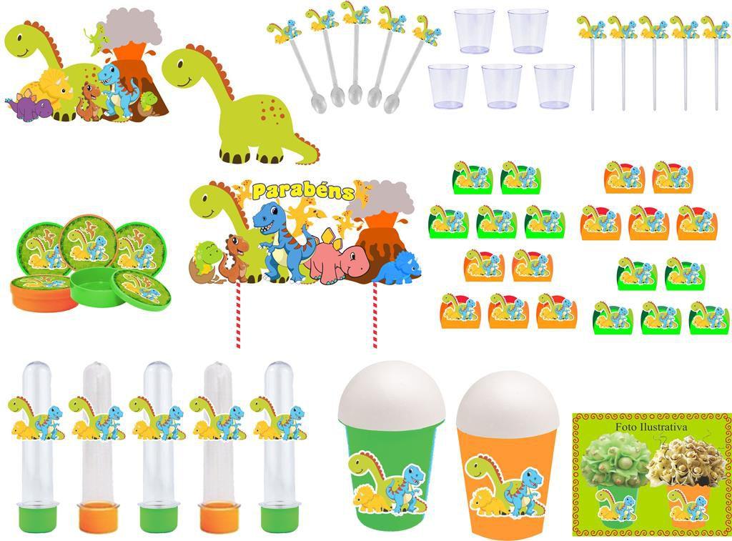 Kit festa Dinossauro 105 peças (10 pessoas)