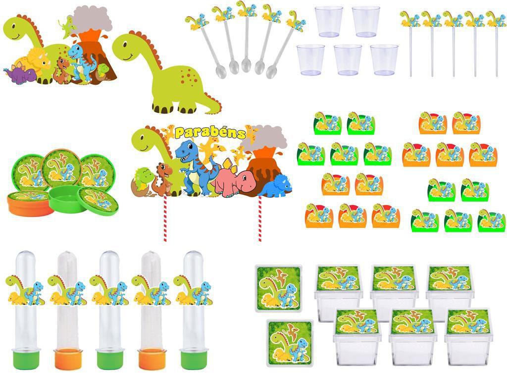 Kit festa Dinossauro 113 peças (10 pessoas)