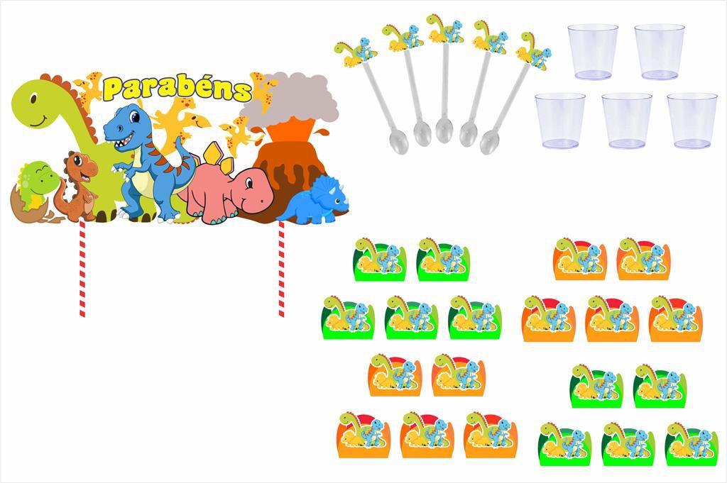 Kit festa Dinossauro 121 peças (10 pessoas)