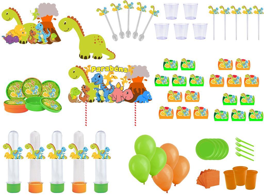 Kit festa Dinossauro 363 peças (20 pessoas)