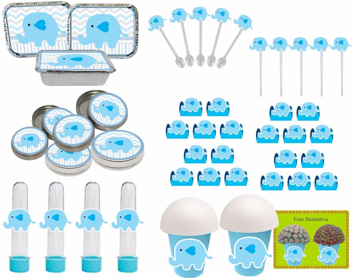 Kit festa Elefantinho (azul) 106 peças (10 pessoas)