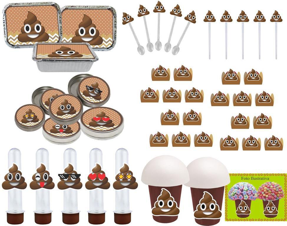 Kit festa Emoji Cocô 106 peças (10 pessoas)