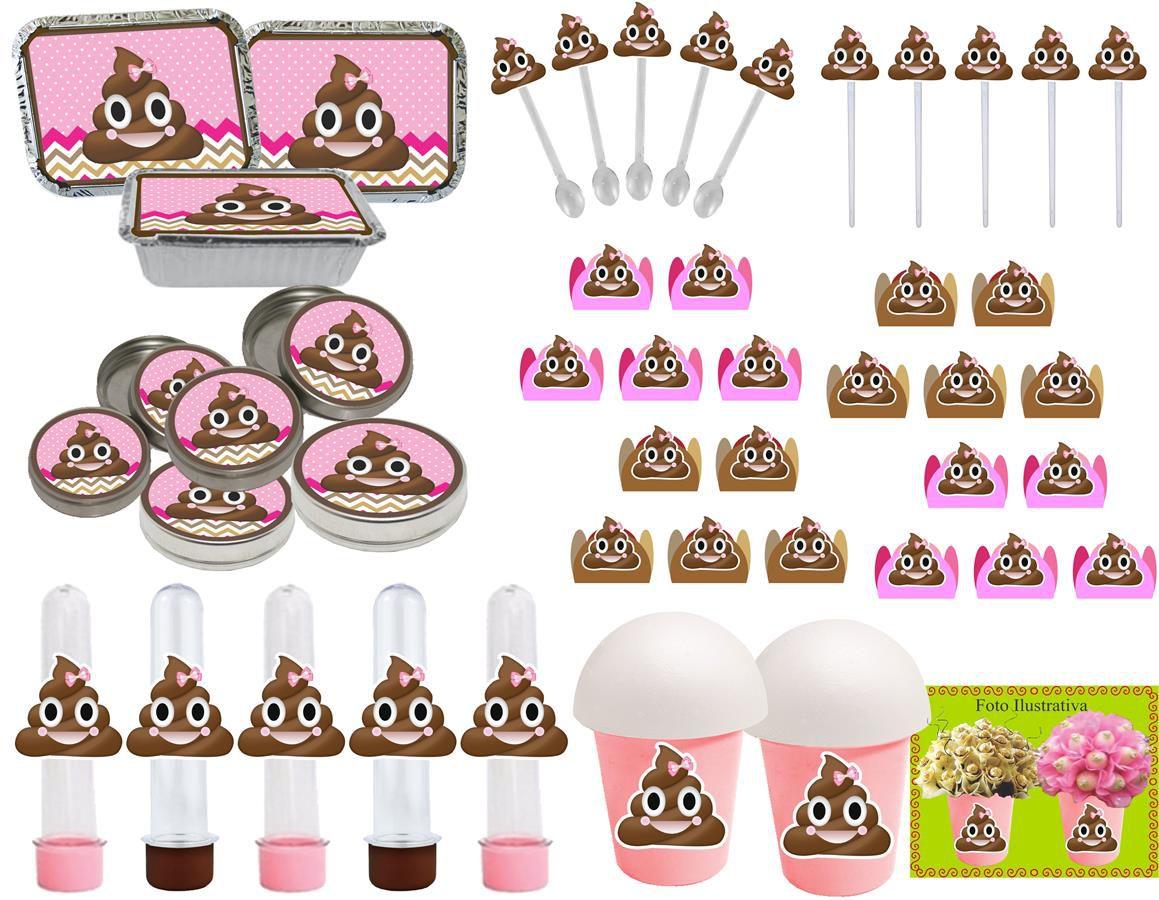 Kit festa Emoji cocô menina 106 peças (10 pessoas)